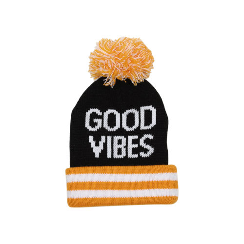 TINY WHALES GOOD VIBES POM POM BEANIE - KIDS CURATED APPAREL