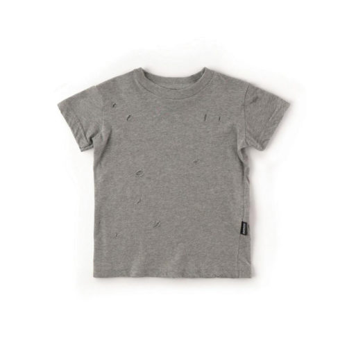 NUNUNU GREY HAND TORN DECONSTRUCTED T-SHIRT - KIDS CURATED APPAREL