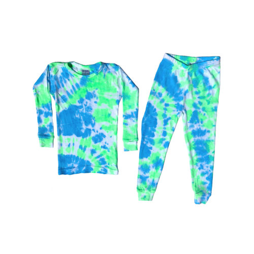 BABY STEPS NEON BLUE AND GREEN TIE DYE PAJAMAS - KIDS CURATED APPAREL