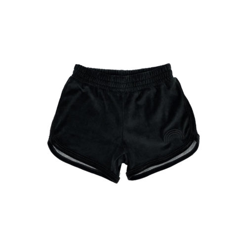 TINY WHALES BLACK RAINBOW SHORTS - KIDS CURATED APPAREL