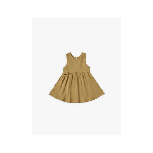 QUINCY MAE OCRE RIBBED TANK DRESS - KIDS CURATED APPAREL