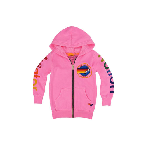 AVIATOR NATION NEON PINK ZIP HOODIE - KIDS CURATED APPAREL