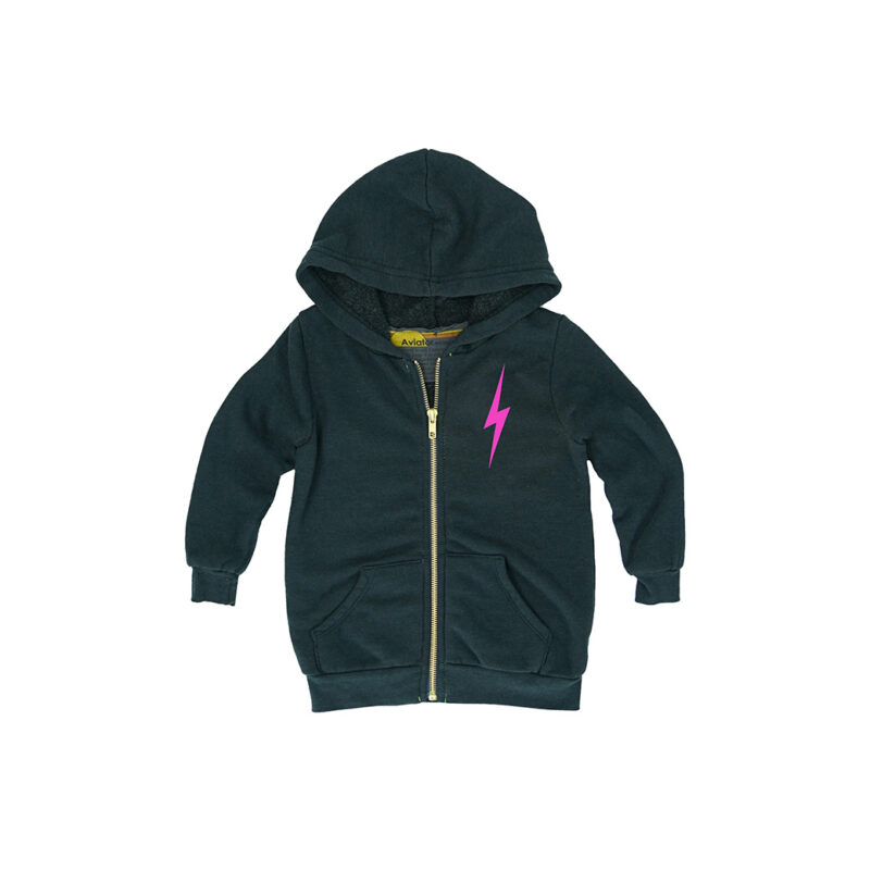 AVIATOR NATION NEON PINK BOLT HOODIE - KIDS CURATED APPAREL