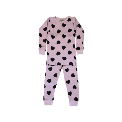 BABY STEPS PINK HEART THERMAL PAJAMAS - KIDS CURATED APPAREL