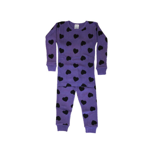 BABY STEPS GRAPE HEART THERMAL PAJAMAS - KIDS CURATED APPAREL