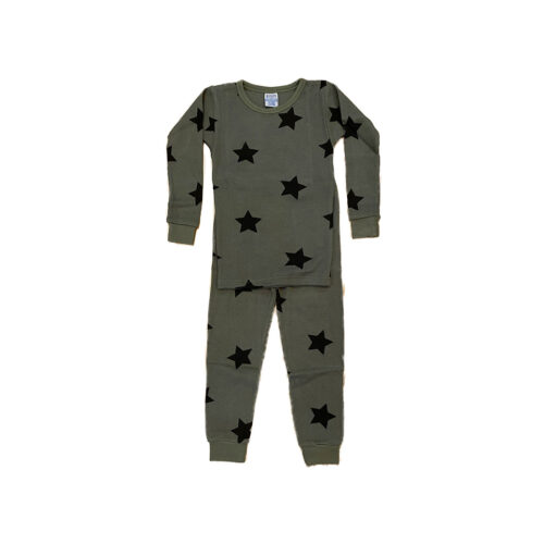 BABY STEPS OLIVE STARS PAJAMAS - KIDS CURATED APPAREL