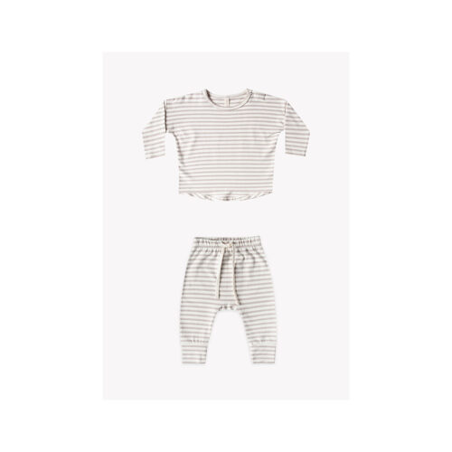 QUINCY MAE FOG STRIPE TWO PIECE SET - KIDS CURATED APPAREL