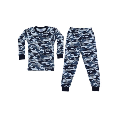 BABY STEPS NAVY CAMO THERMAL PAJAMAS - KIDS CURATED APPAREL