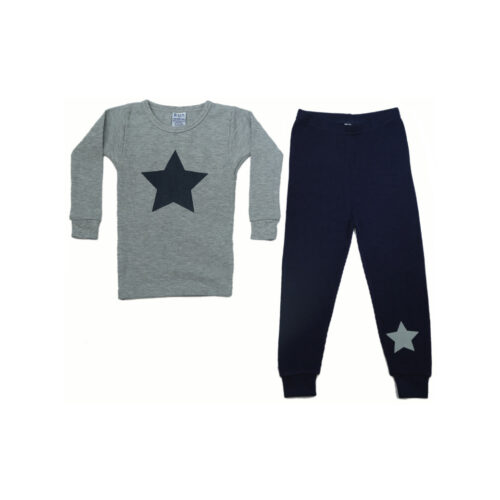 BABY STEPS GREY THERMAL PAJAMAS - KIDS CURATED APPAREL