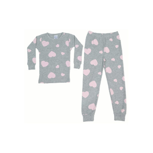 BABY STEPS PINK AND GREY THERMAL PAJAMAS - KIDS CURATED APPAREL