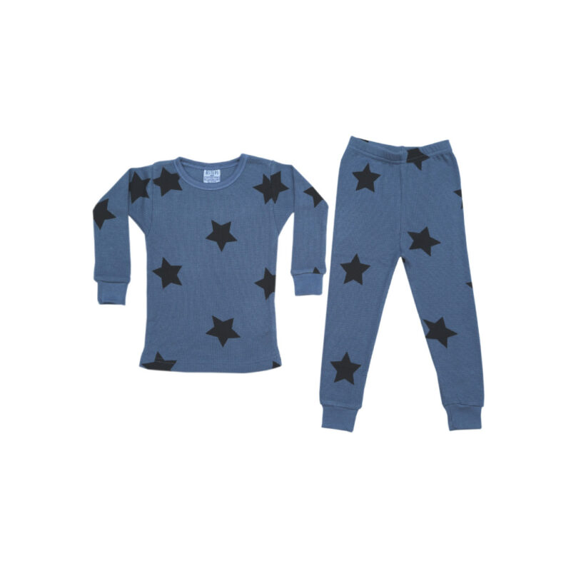 BABY STEPS DENIM STAR THERMAL PAJAMAS - KIDS CURATED APPAREL