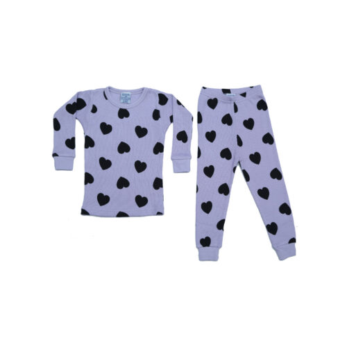 BABY STEPS LILAC HEARTS THERMAL PAJAMAS - KIDS CURATED APPAREL