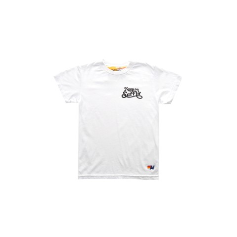 AVIATOR NATION WHITE KEEP ON SURFIN TEE - KIDS CURATED APPAREL
