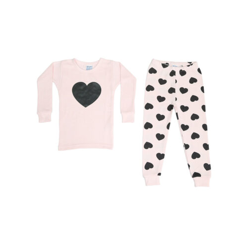 BABY STEPS BLACK HEARTS ON PINK THERMAL PAJAMAS - KIDS CURATED APPAREL