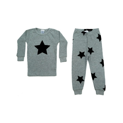 BABY STEPS STARS ON HEATHER PAJAMAS - KIDS CURATED APPAREL