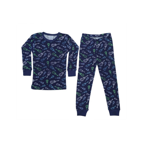 BABY STEPS GUITARS ON NAVY PAJAMAS - KIDS CURATED APPAREL