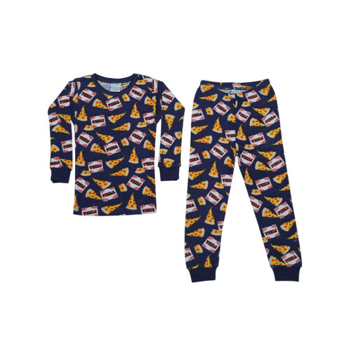 BABY STEPS NAVY PIZZA LOVE PAJAMAS - KIDS CURATED APPAREL