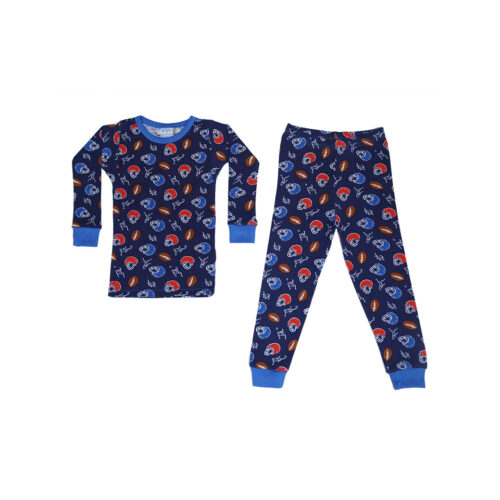 BABY STEPS NAVY FOOTBALL PAJAMAS - KIDS CURATED APPAREL