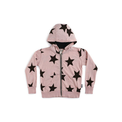 NUNUNU PINK LIGHT STAR ZIP HOODIE - KIDS CURATED APPAREL