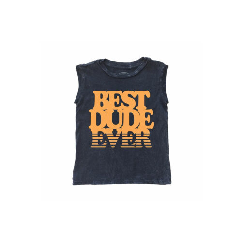 TINY WHALES BEST DUDE EVER SLEEVELESS TEE - KIDS CURATED APPAREL
