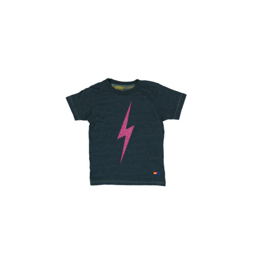AVIATOR NATION GLITTER PINK BOLT TEE - KIDS CURATED APPAREL