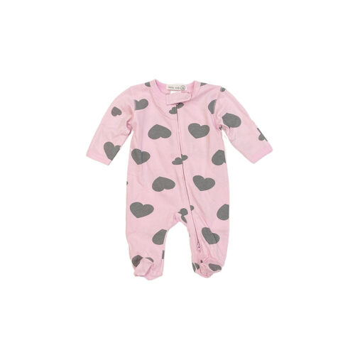 LITTLE MISH PINK HEARTS FOOTIE - KIDS CURATED APPAREL